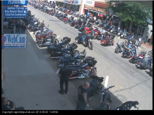 A still from the Sturgis Street Webcam (Click through for the live camera)